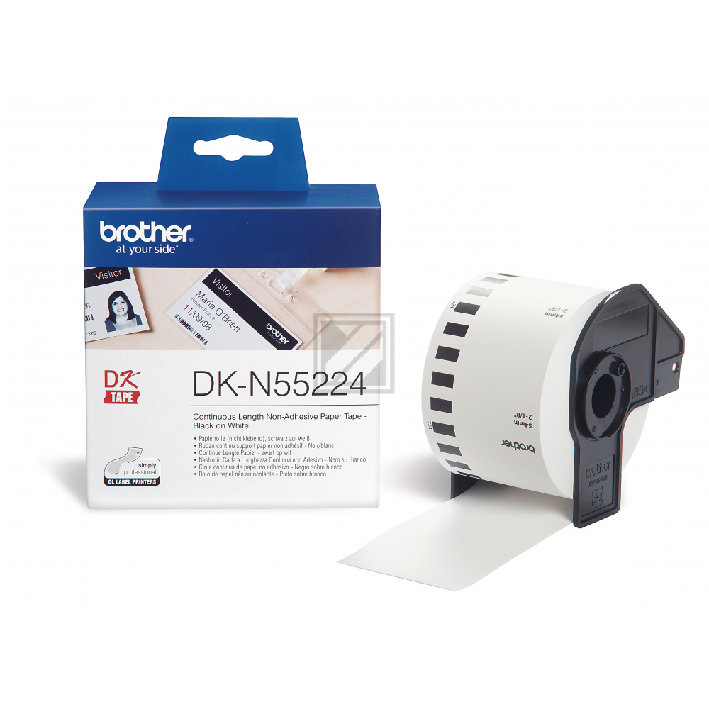 DKN55224  / Brother Papier f. PT QL550  / DKN55224  // weiss / 30,48 m x 54 mm