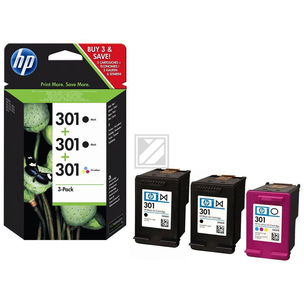 E5Y87EE / Nr.301/ 2xBKColor Original Tinte für HP / E5Y87EE / BK190 / CMY165 Deiten