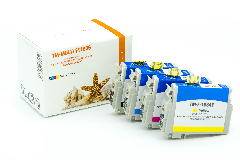 Multipack T1636 Alternativ Tinte  für Epson / C13T16364010 / BK14,6ml/C,M,Y10ml (PATENT SAFE