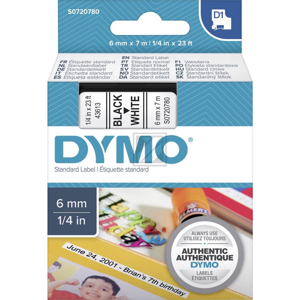 43613 // S0720780 // Dymo Schriftband 6mm, schw/we / 43613 // S0720780