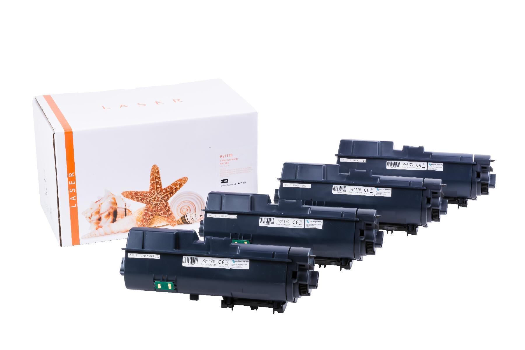 4er Set TONTK1170 Alternativ Toner Black für Kyoce / TK1170 / 4x7.200 Seiten