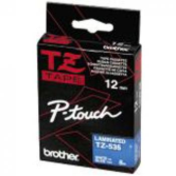 TZE535 // Brother PTouch  // white on blue // 12m / TZE535