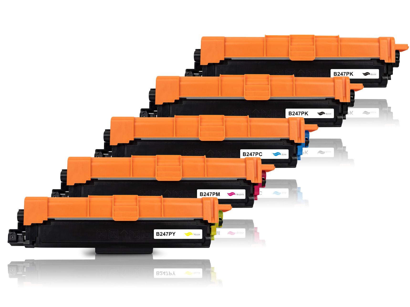 5er Set TONTN247BK Alternativ Toner Black für Brot / TN247BK / 5x 3.000 Seiten