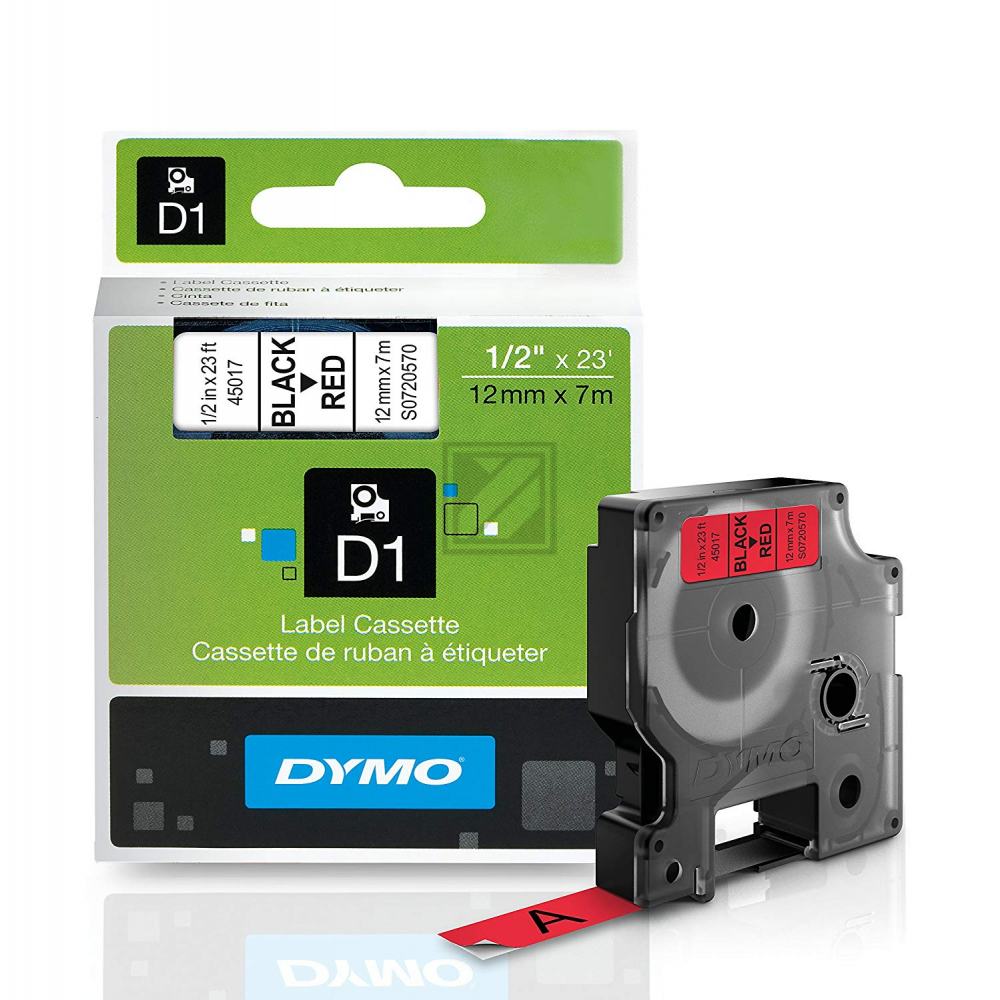 45017 // S0720570 // Dymo Schriftband 12mm, schw/r / 45017 // S0720570